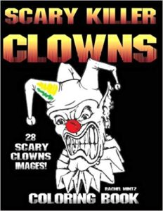 Scary killer clowns coloring book