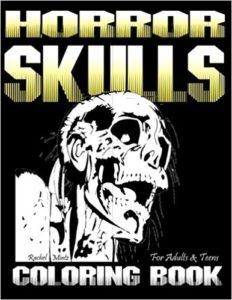 Horror skulls coloring book adults