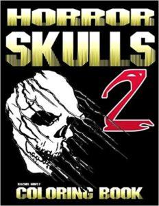 Scary skulls coloring book halloween